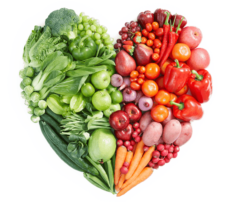 Heart shaped fruits and vegetables