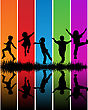 Rainbow silhouette of kids playing