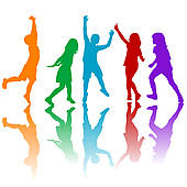 Rainbow silhouette of children playing